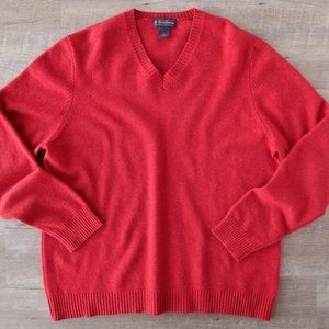 XL Brooks Brothers Red Lambswool V-Neck Sweater A4